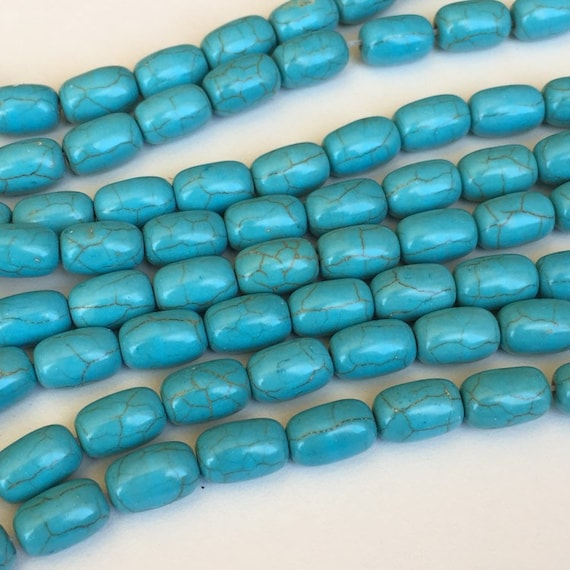 """Drum White Howlite Turquoise Stone Spacer Loose Beads for Jewelry Making 15/""""DIY"""