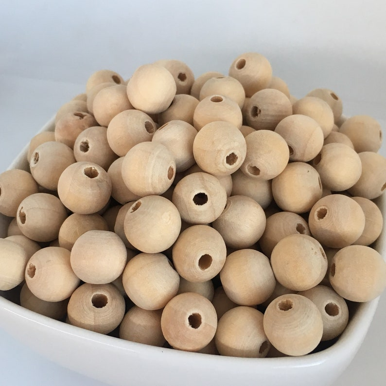 50X Natural Unpainted Wood Beads 10mm Bicone Shape Macrame Craft Wooden Bead