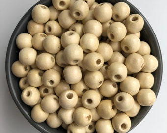 50X Pieces Beige Wood Bead 12mm Round Wooden Beads DIY Jewellery Making Beads