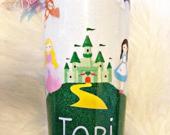 Wizard of Oz inspired travel mug/gift for her/stainless steel/glitter tumbler