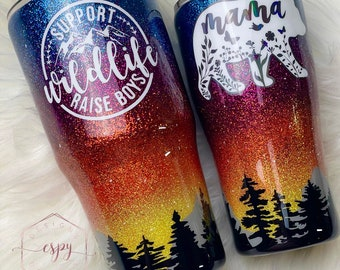 Forest sunset tumbler/camping/gift for her