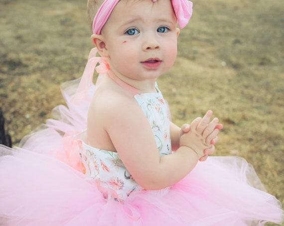 Little Pink Country Girl Tutu Dress - Western Baby Girl, Antlers & Flowers, Farm Girl Tutu Dress. Rustic Tutu Dress
