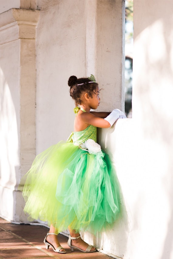 Tiana inspired tutu costume dress! Gorgeous green lace with green tulle dress skirt and trim! Baby toddler costumes!
