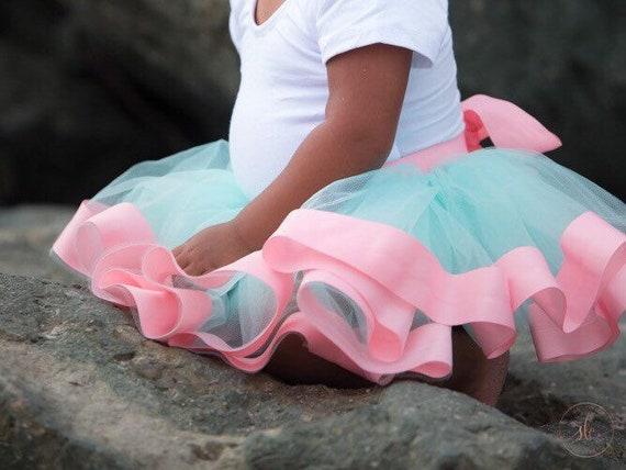 Baby Toddler Pink and Aqua Baby ribbon edge Tutu perfect cake smash Tutu for Baby or Toddler