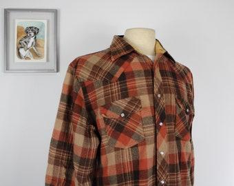 1970s Flannel Shirt Plaid Blue Brown Lumberjack Boyfriend Sanforized Vintage 70s Button Down Pockets Grunge Retro Kmart M Medium Large L