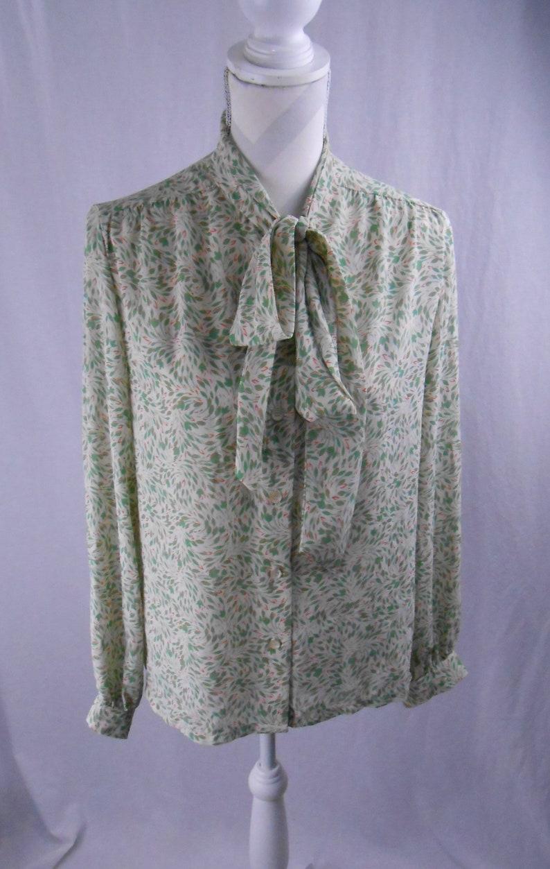 1960/'s Vintage Dalton Pussy Bow Leaf Patterned Womens Blouse