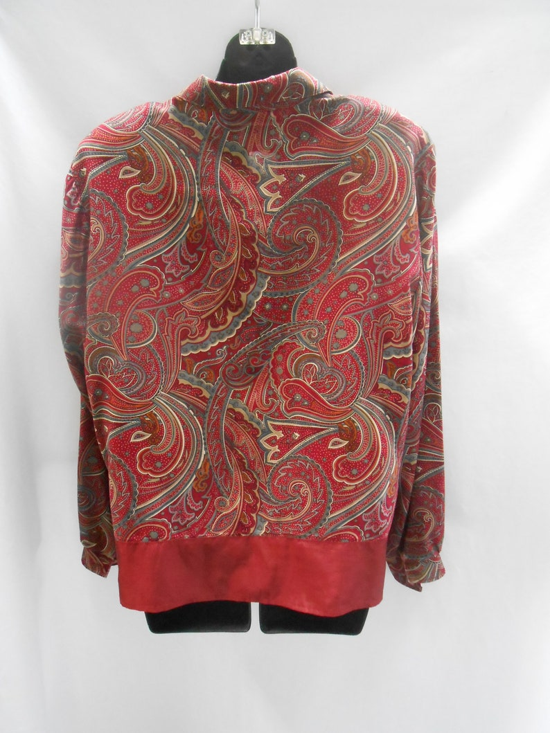 1970/'s1980/'s Vintage Alfred Dunner Burgundy Paisley Womens Blouse Size 12