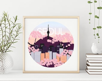 Seoul South Korea Illustration, Cityscape Art Print, Great K-Pop Fan Gift, Square Print, Travel Poster