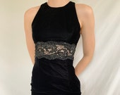 Vintage 80s 1980s 90s 1990s Black Velvet Jessica McClintock Gunne Sax Little Black Mini Dress Size 5 6 Size Small XS Medium