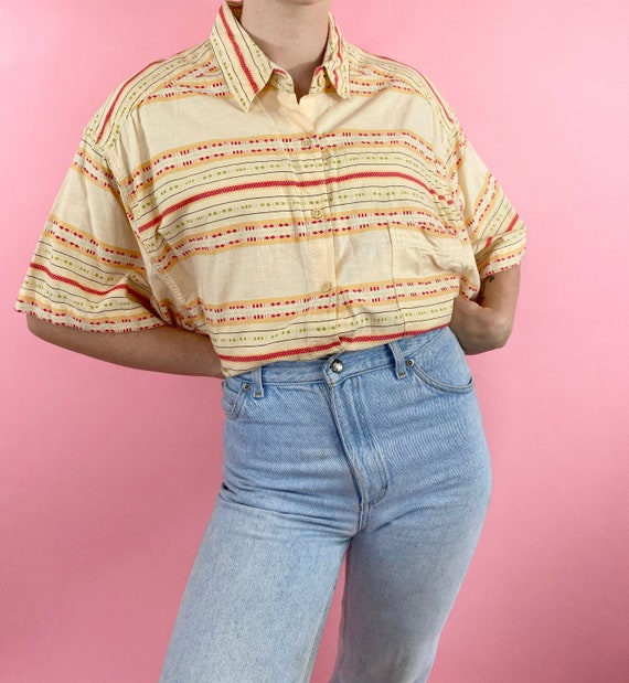 Vintage 90s 1990s Abstract Striped Embroidered Pri