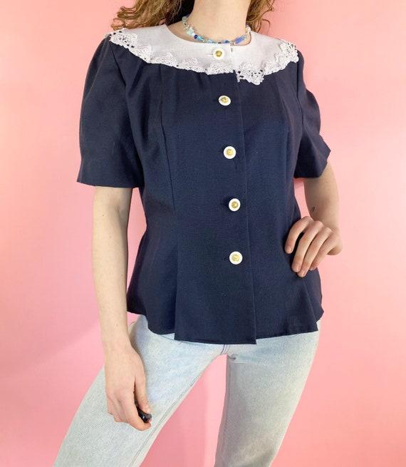 Womenswear UK10-12 White Shirt 90s Dead Stock Sailor Blouse Nautical Shirt Navy Blouse Vintage Women/'s Blouse Secretary Blouse