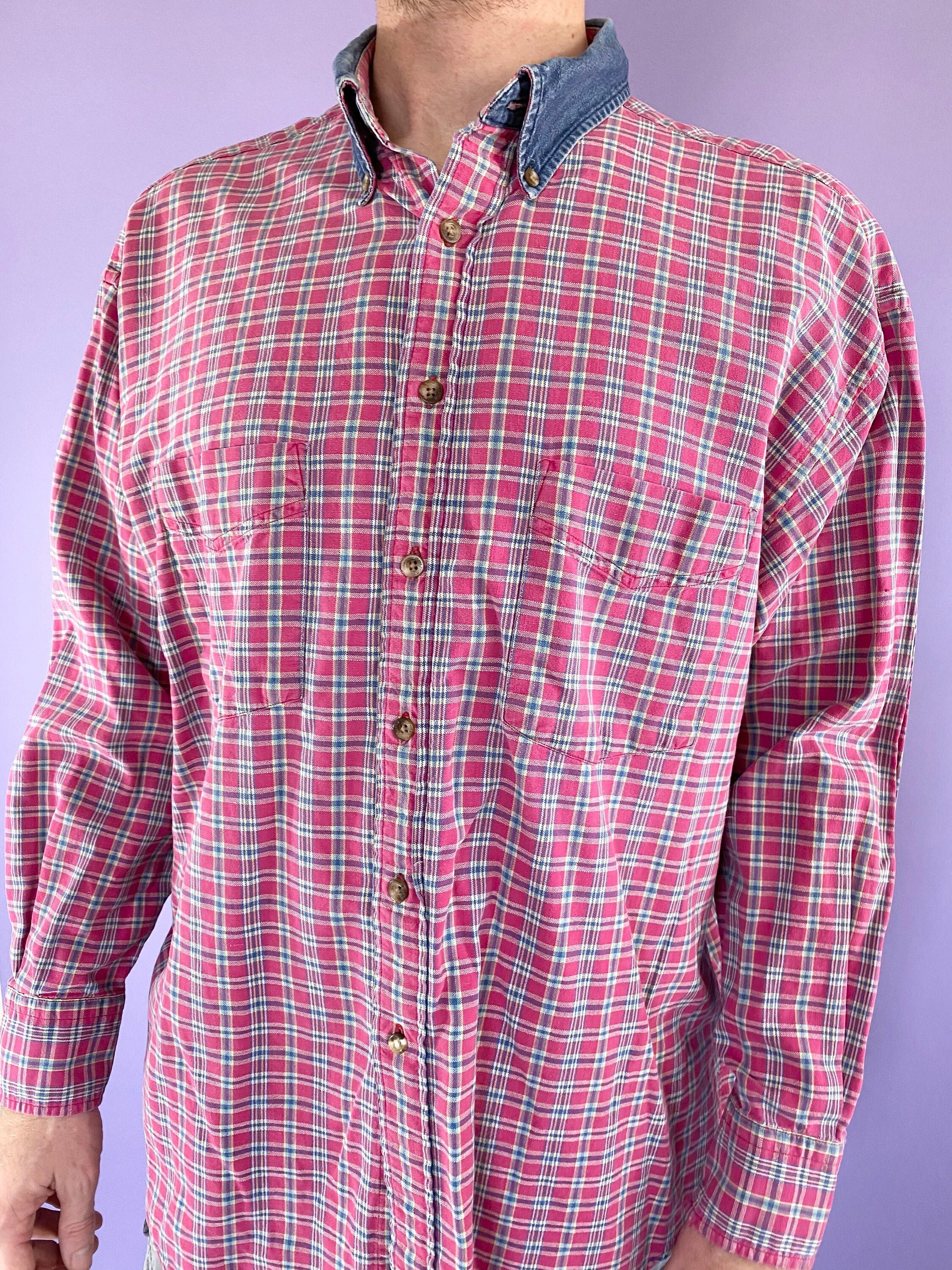 80s Tops, Shirts, T-shirts, Blouse   90s T-shirts Vintage 80S 1980S 90S 1990S Distressed Casual Pendleton Plaid Long Sleeve Denim Collared Flannel Cotton Button Up Shirt $17.50 AT vintagedancer.com