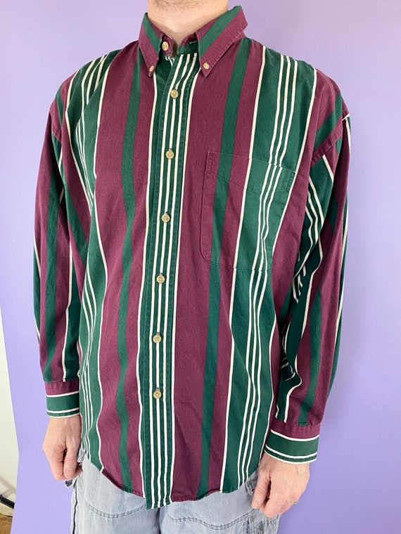 Vintage 90s 1990s Striped Print Casual Dark Green