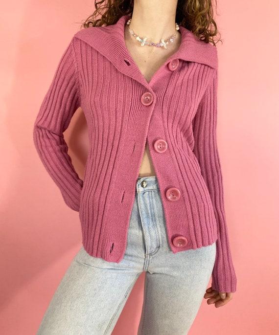 Vintage 90s 1990s Y2K 2000s Knit Ribbed Solid Prin
