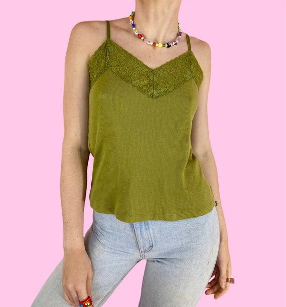 Vintage 90s Y2K Dark Green Lace V-neck Earthy Fair