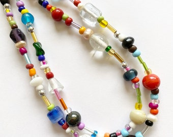 Handmade Glass Freshwater Pearl Dainty Multicolor Rainbow Pastel Gold Silver Seed Bead Mismatched Eclectic Minimalist Layering Mix Necklace