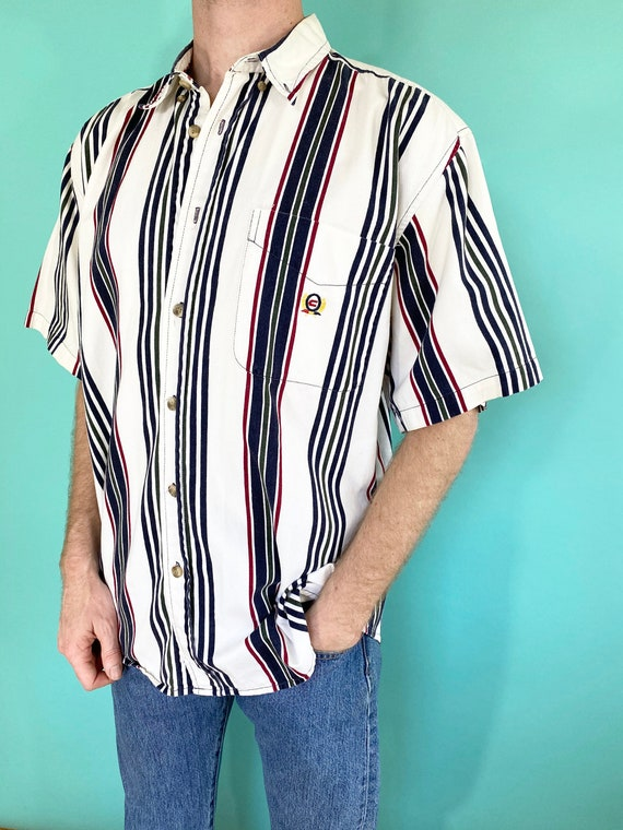 Vintage 90s 1990s Striped Multicolor White Green N