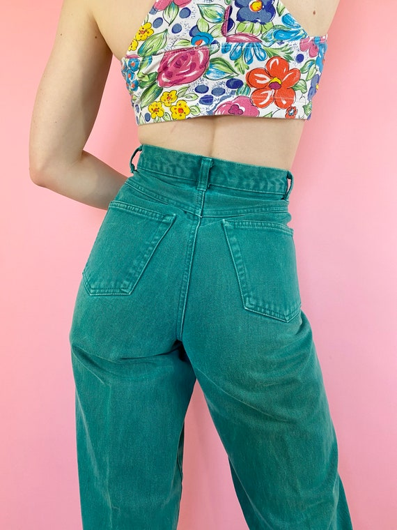 Vintage 90s 1990s Emerald Green Blue Wash Tapered