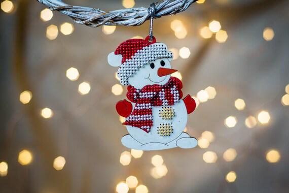 Diy Christmas Beading Set Wooden Snowman Ornament Embroidery Set Christmas Tree Decor Snowman Decoration Diy Embroidery Gift Ornament
