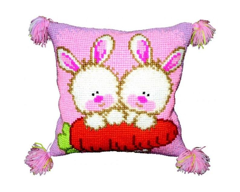 Bunnies pillowcase cross stitch DIY kit white pink image 0