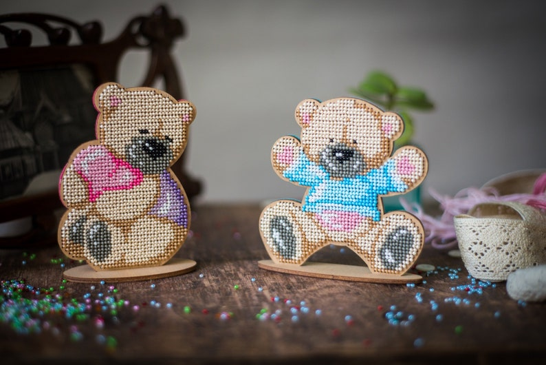 Diy Beaded Teddy Bear Pattern Valentines Day Decor Beading Craft Kit I Love You Gift Beadwork Pattern Bead Embroidery Wooden Blank Canvas