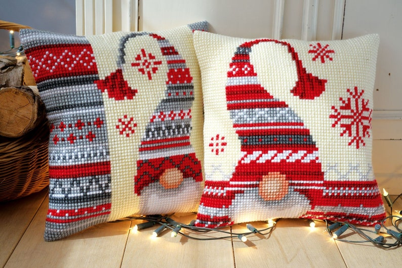 Set of 2 DIY cross stitch kit rustic Christmas embroidery for image 0