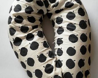 Nursing pillow banana shape with pine filling, nursing pillow pine scent, storage cushion, nests apple black white
