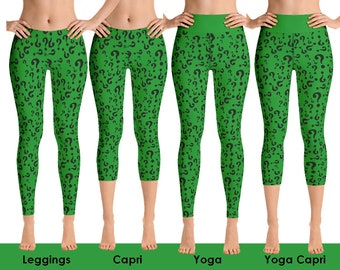 bd774251db3338 The Riddler Inspired. Riddle me this Batman! Halloween costume! Cosplay  Leggings, Allow 2 weeks to receive. (See Size Chart - last image)