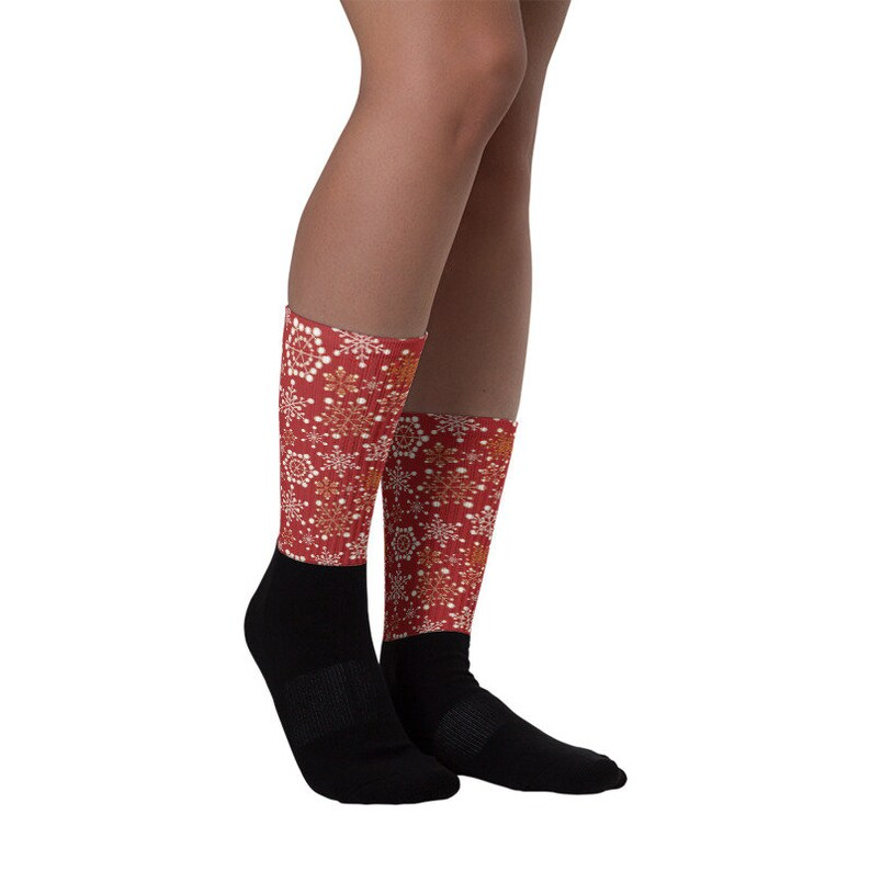 Christmas 7 See Size Chart - last image Allow 2 weeks to receive. Snowflakes on red Unisex Socks Black Footed styles