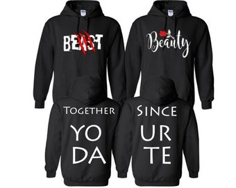 41925605f0 Beast and Beauty (Rose) Couple Hoodie with Together and Since Matching  Hoodie His and Her Crewneck (Comes 2 Hoodies)