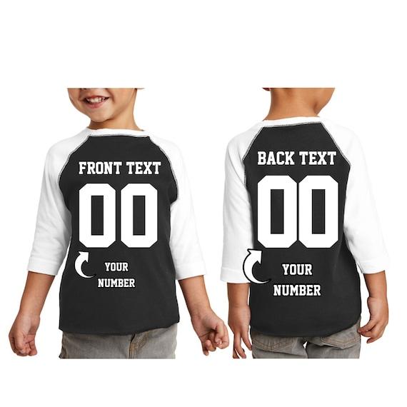 Front Number Back Name /& Number 0002 Custom Youth Raglan Baseball T-shirt