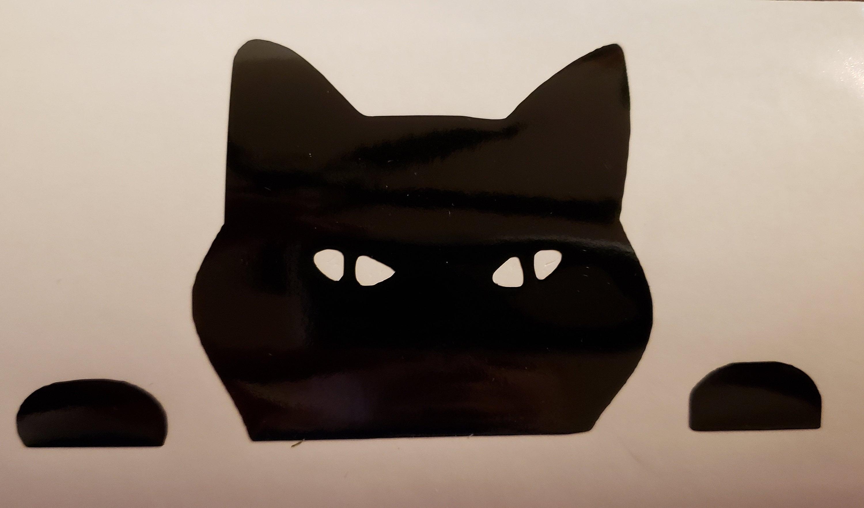 Santa Hat Peeping Cat Vinyl Decal Sticker Art Decoration