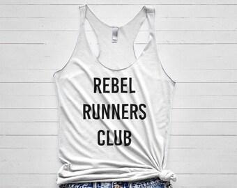 3b55db29e Rebel Runners Club Tank Top - womens running top, womens runner shirt,  flowy running apparel, workout print, workout tank top