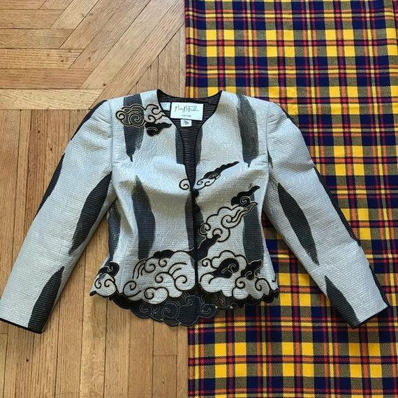 Mary McFadden Couture Cloud Accented Jacket