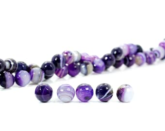 15 INCH Purple Stripes Agate Rondelle Faceted Beads Strand Lot For Jewelry Making