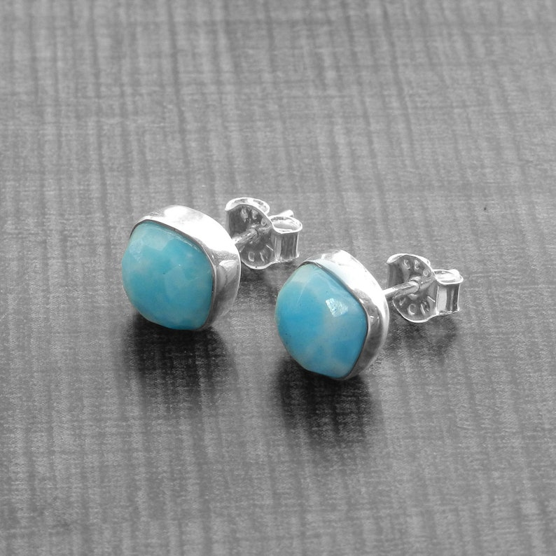 République dominicaine Larimar Argent Sterling 925 Bijoux Gemme Dangle Earrings
