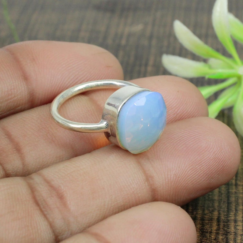 Solid Ring Statement Ring Stone Ring 925 Silver Ring 925 Sterling Silver Ring Opalite Hydro Ring Quartz Ring Silver Jewelry