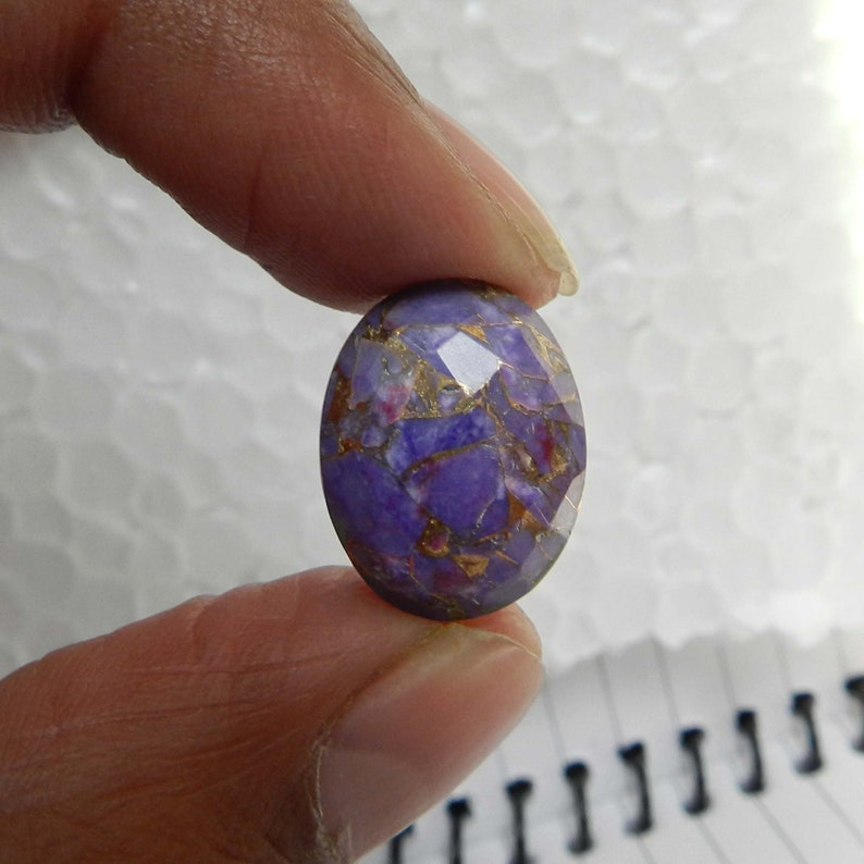 Mohave Copper Purple Turquoise 6x8mm to 20x30mm Oval Checker Cut Flat Back Calibrated Loose Gemstone for Jewelry Making 1pcs