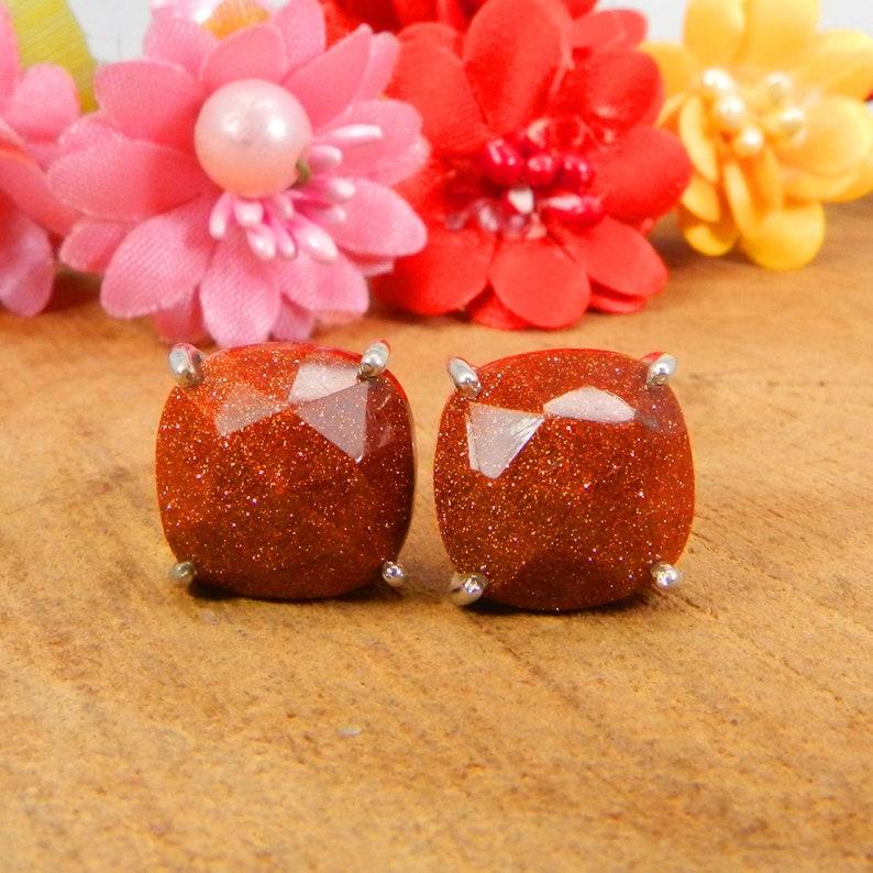 Sparkly Brown Sunstone 12x12mm Cushion Gemstone 925 Sterling Silver Bohemian Stud Earrings