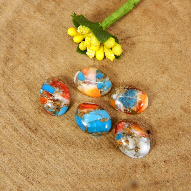 Mohave Copper Oyster Turquoise 16x12mm Oval Shape Flat Back Calibrated Loose Gemstone Cabochon 5pcs