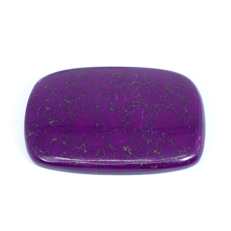 Synthetic Purple Turquoise 54x40mm Big Size Rectangle Cushion Cabochon High Polished Loose Gemstone For Jewelry
