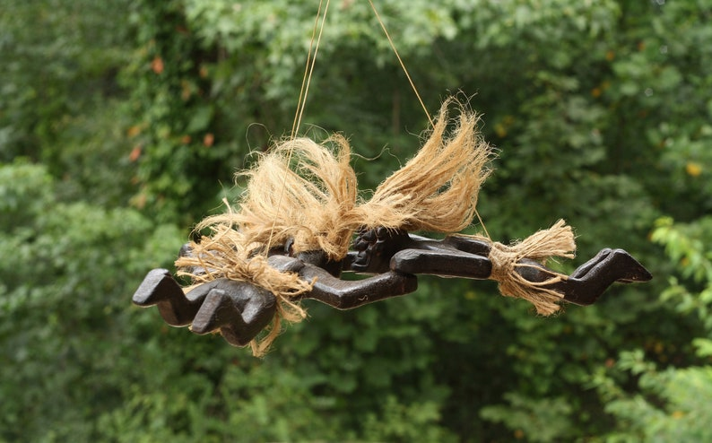 Handmade Wooden Primitive Tandem Skydiving Tribal Statue Parachuting Sculpture African Tiki Bar Gift Decor Figurine Handcrafted Hand Carved