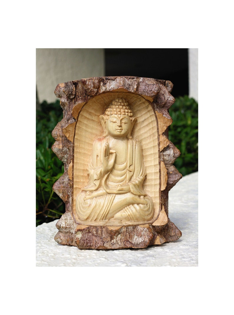 Wooden Serene Buddha Meditating Crocodile Wood Statue Hand Carved Sculpture Handmade Figurine Home Decor Accent Rustic Handcrafted