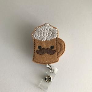 Belt Clip or Swivel Alligator Clip Bunny with Mustache Glitter Vinyl Feltie Badge Reel