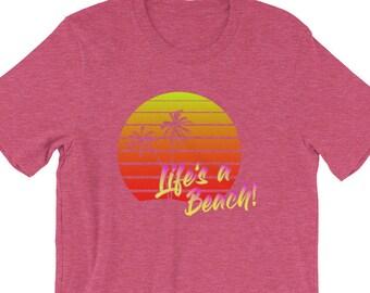 ede317c83 Vintage Retro Beach T Shirt - Life's A Beach T Shirt - Retro T-Shirt - Retro  80s Clothing
