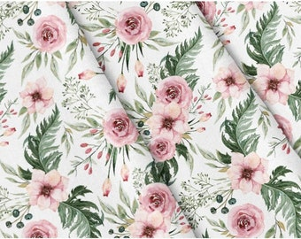 NEW-56 Inches Wide-100/% Cotton Fabric Vintage Floral Design-Pink Roses on Green