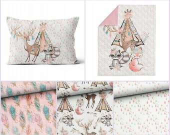 Family of Rabbits Bunny Land Fabric Cushion  Craft Quilting Panel