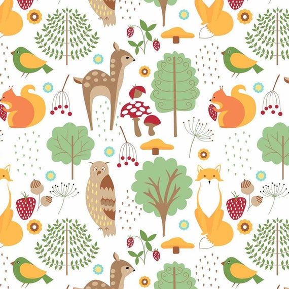 Sale Woodland Animals In Trees Panel Woodland Forest 100/% Cotton Fabric