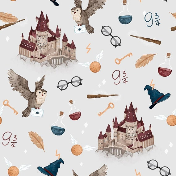 Nursery Fabric Light Gray Background School of Magic Inspired by Harry Potter Cotton Fabric Premium Textile