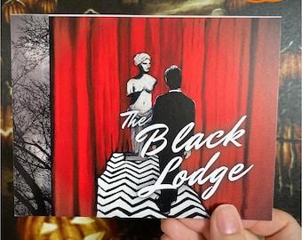 Postcard: The Black Lodge, Twin Peaks postcard, horror postcard, Twin Peaks, Agent Cooper, Twin Peaks Art